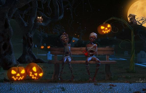 Picture bench, night, house, the moon, graves, boy, art, shop, girl, lantern, pumpkin, Halloween, Valentine, Helloween, ...