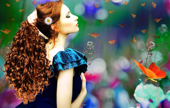 Picture girl, butterfly, flowers, face, hair, makeup, art, profile, red, curls, blue dress