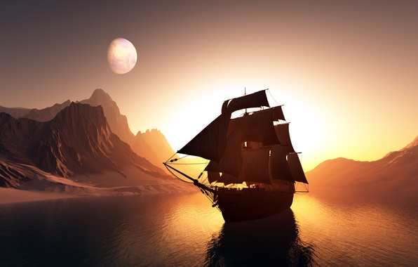 Picture sea, the sky, landscape, sunset, mountains, reflection, rendering, the ocean, graphics, ship, sails