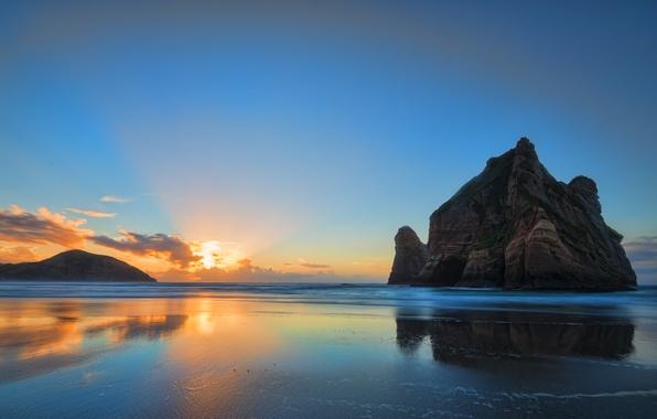 Picture beach, sunrise, rocks, orange clouds