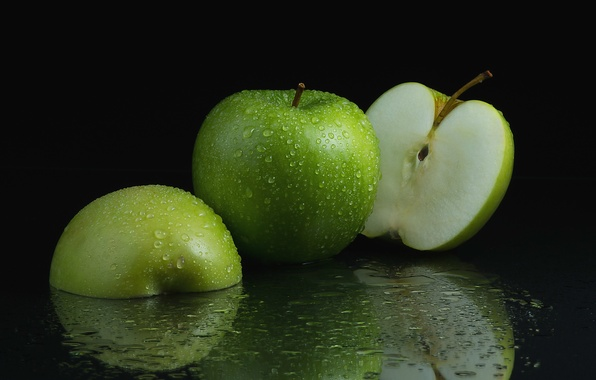 Picture drops, macro, green, apples, fruit, halves
