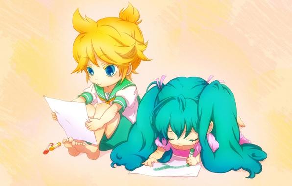 Picture children, figure, boy, art, girl, vocaloid, hatsune miku, Vocaloid, crayons, students, kagamine len