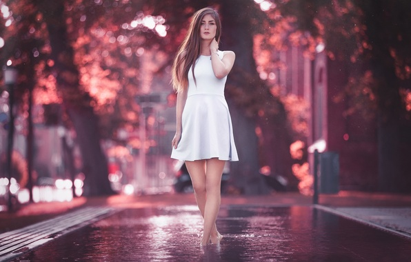 Picture Girl, Light, Purple, Model, Water, Color, White, Beauty, Summer, Bokeh, Cute, Fashion, Dress, Outdoor