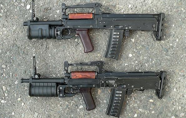 Picture optics, cartridges, different, muffler, complex, Russian, AKS74U, development, 1989, caliber, option, machine, OTS-14, assault, developed, …