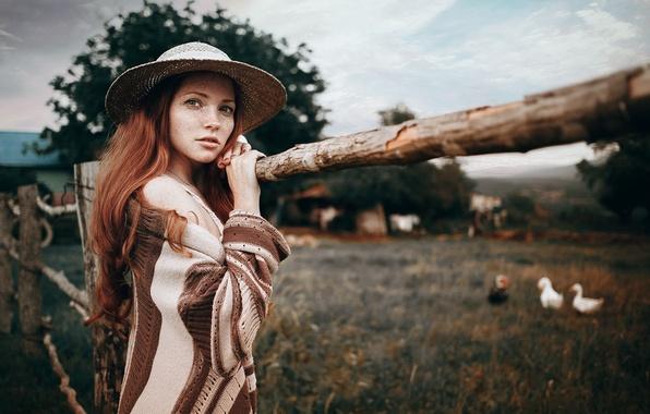 Picture Girl, Look, Lips, Face, Hat, Jacket, Redhead, Oksana Butovskaya, Geese