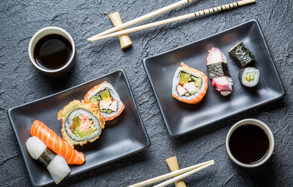 Picture sticks, sushi, rolls, Japanese cuisine, soy sauce