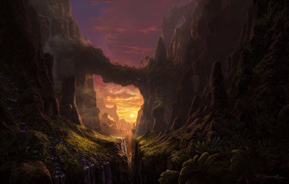 Canyon Concept Art Sun Set