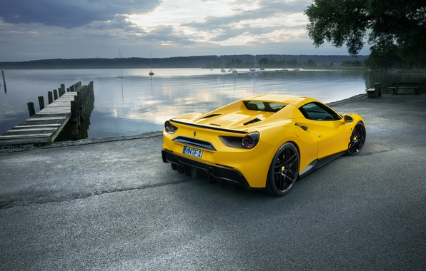 Picture car, the sky, yellow, pier, Ferrari, car, yellow, wallpapers, back, Spider, Rosso, Novitec, 488