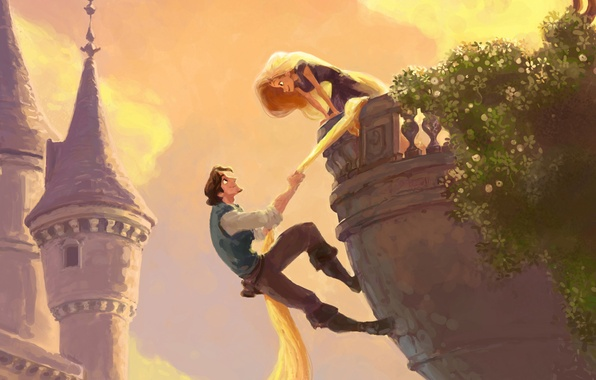 Picture tower, balcony, long hair, Rapunzel, tangled, Flynn