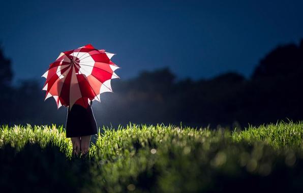 Picture field, girl, light, umbrella, dress, silhouette
