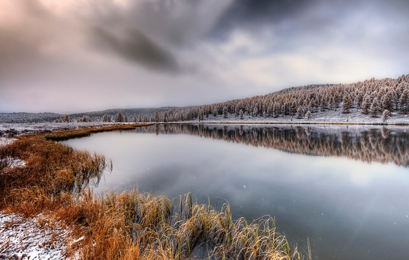 Picture autumn, snow, October, Altay