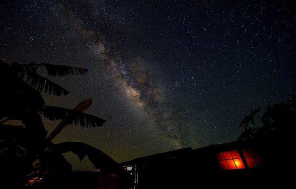 Picture space, stars, light, night, space, house, window, the milky way