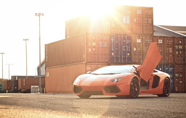 Picture the sky, the sun, orange, lamborghini, Blik, front view, containers, orange, aventador, lp700-4, Lamborghini, aventador