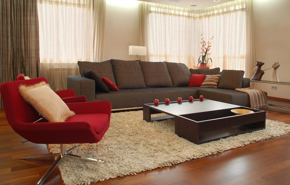 Picture design, style, room, sofa, red, carpet, apples, furniture, interior, chair, brown, table