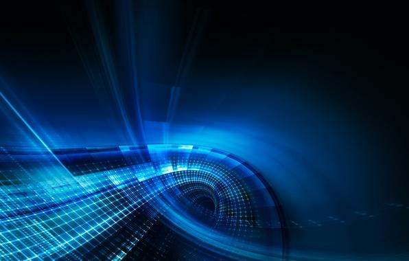 Picture line, blue, glow, squares, curves