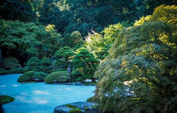 Picture greens, trees, stones, garden, USA, gravel, the bushes, Oregon, Portland, Japanese Garden