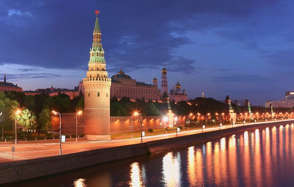 Picture river, tower, Moscow, 155, the Kremlin