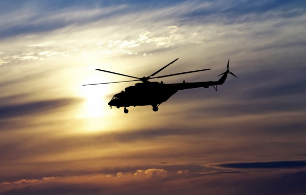 Picture the sky, flight, spinner, silhouette, helicopter, Russia, BBC, bokeh, helicopter, OKB, Russian, multipurpose, Mi-8, Soviet, …
