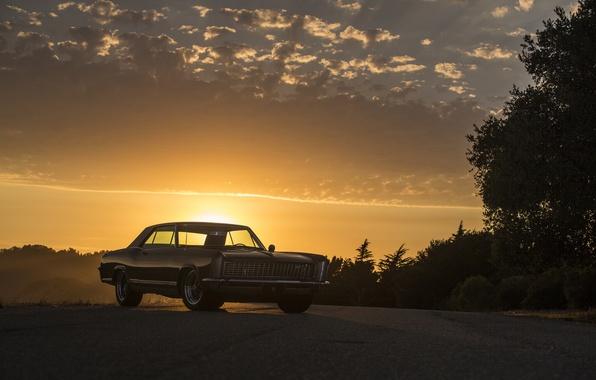 Photo wallpaper buick, 1965, riviera, sunset