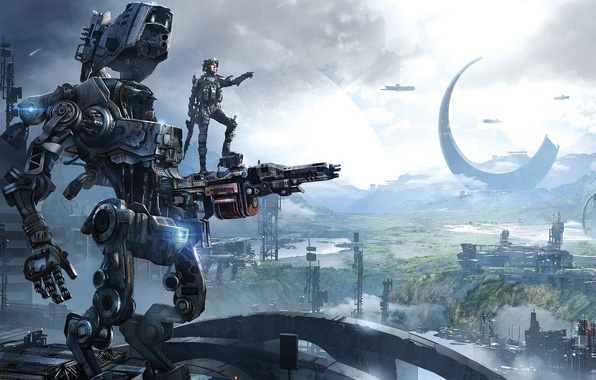 Picture Robot, Building, Soldiers, Hunter, Electronic Arts, Pilot, DLC, Titan, Equipment, Weapons, Titanfall, Respawn Entertainment, Titanfall: …