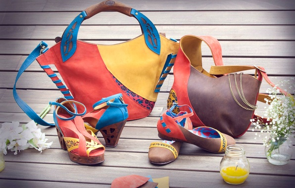Photo Wallpaper Design Shoes Leather Fashion Bags Sandals Bright