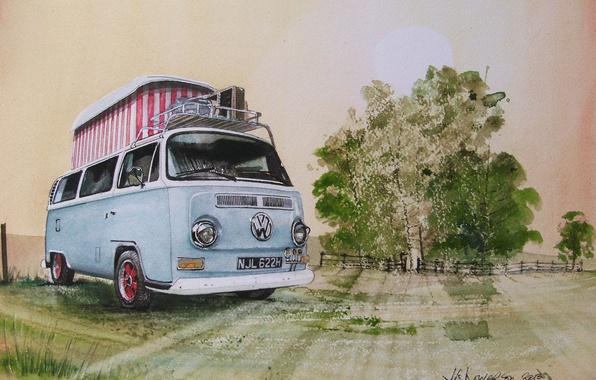 Picture machine, auto, figure, Volkswagen, painting, Transporter, Volkswagen