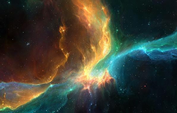 Picture space, stars, nebula, lights, beauty, art, galaxy