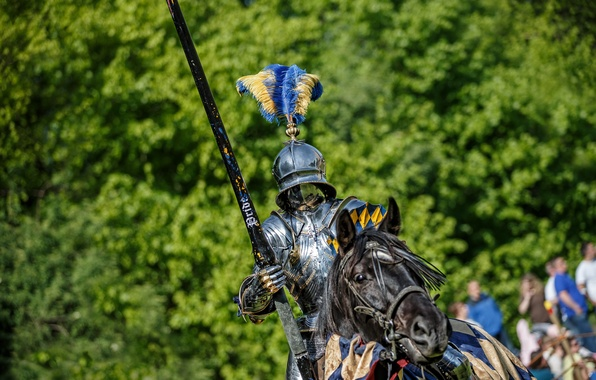 Picture metal, horse, horse, armor, warrior, knight