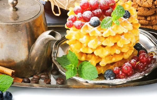 Picture berries, coffee, food, grain, Breakfast, kettle, cookies, blueberries, cinnamon, red, currants, waffles, tray