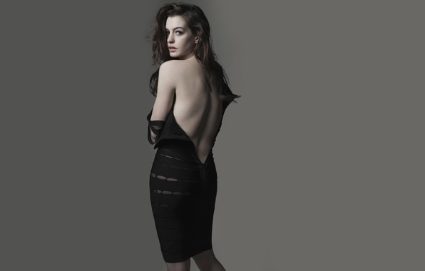 Picture look, girl, face, background, back, actress, beauty, Anne Hathaway, waist.figure, Anne Hathaway