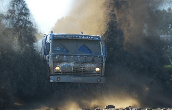 Picture machine, dirt, truck, road, off, KAMAZ