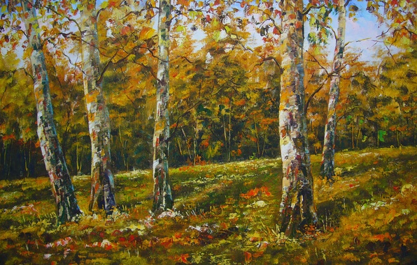 Picture autumn, trees, nature, figure, picture, art, drawings, pictures