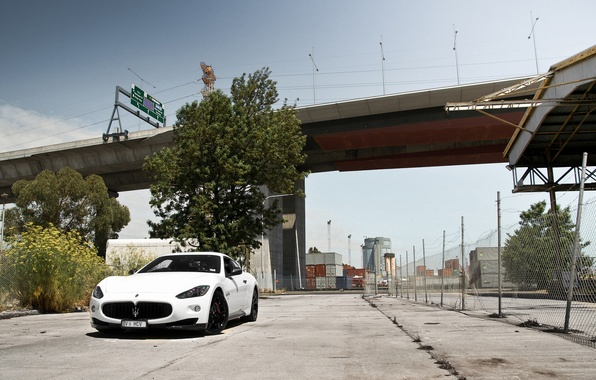 Picture white, the sky, bridge, the fence, white, maserati, front view, Maserati, granturismo, GranTurismo, MC road, …