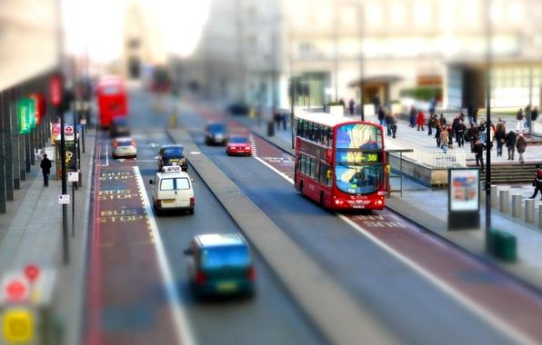 Picture England, London, The city, Street, Bus, tilt shift, Double-decker