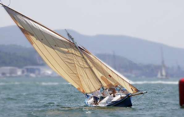 Picture sea, yacht, sails, roll