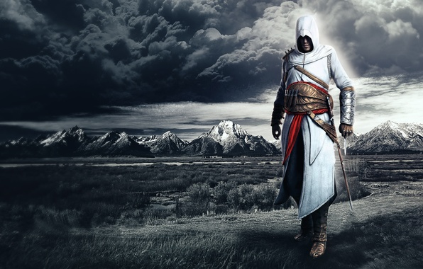 Picture clouds, mountains, assassins creed, Altair, altair, the creed of the assassins