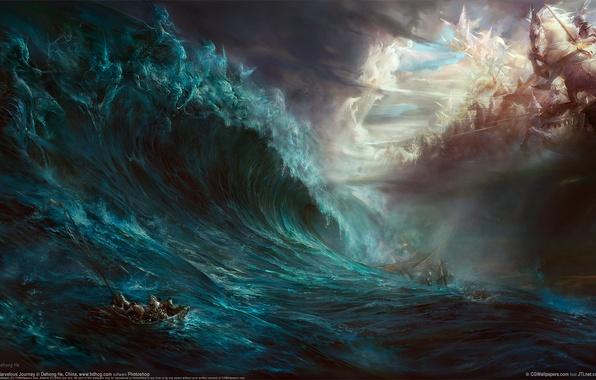 Picture sea, wave, battle, death, dehong he