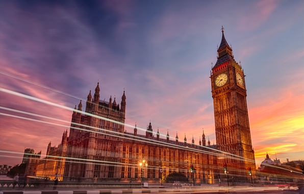 Picture the city, lights, watch, England, London, the evening, excerpt, big Ben