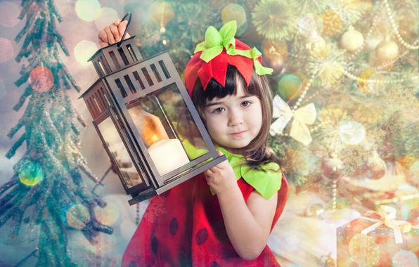 Picture children, new year, girl, lantern, child