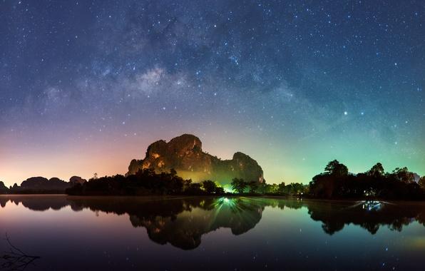 Picture sea, beach, the sky, mountains, night, lights, lights, The milky way, Thailand, Thailand, beach, sky, …