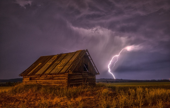 Photo wallpaper grass, the sky, field, night, house, the storm, lightning, clouds
