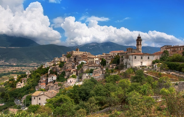 Picture mountains, home, Italy, town, Italy