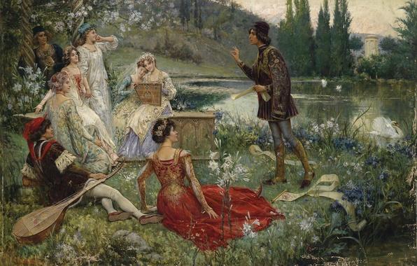 Picture forest, landscape, flowers, river, ladies, shore, art, Swan, picnic, forest, painting, swan, river, landscape, art, …