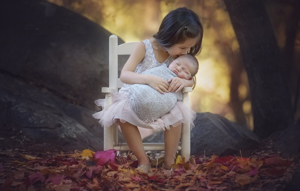 Picture autumn, leaves, trees, nature, children, stones, kiss, chair, girl, baby