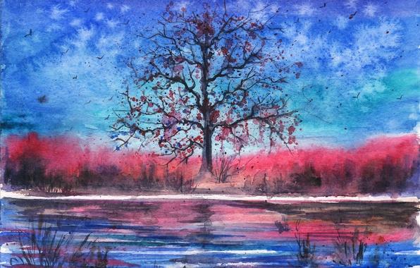 Wallpaper birds, river, tree, the evening, watercolor, painted landscape images for desktop, section живопись - download