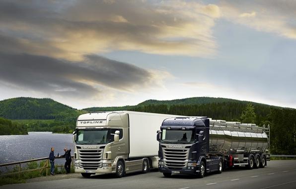 Picture Nature, Lake, Trees, Hills, Trucks, Scania, Scania, Highline, Topline, 480л.with., Van, Stelnicki, Trucks, The main …