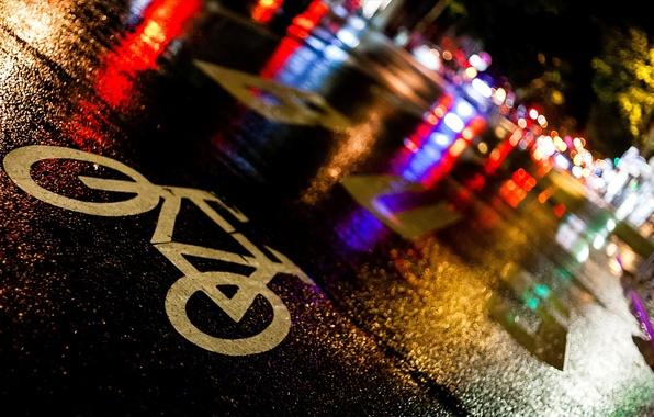 Picture road, asphalt, night, bike, the city, lights, wet, rain, sign, street, France, Paris, Paris, the …