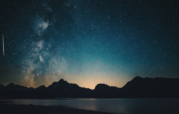 Picture light, sky, night, mountains, lake, stars, hills, Milky Way, silhouette, meteor