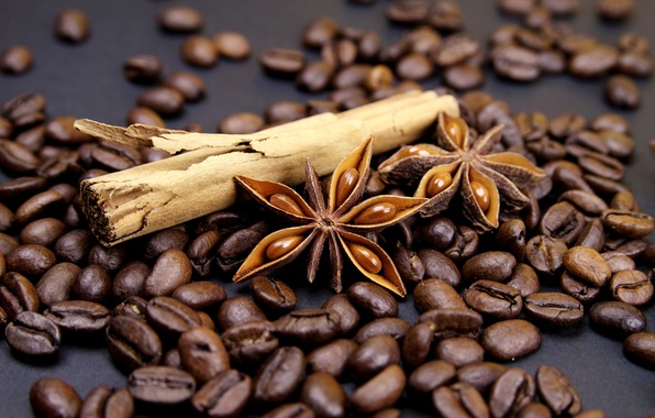 Picture coffee, grain, sticks, cinnamon, spices, star anise, Anis