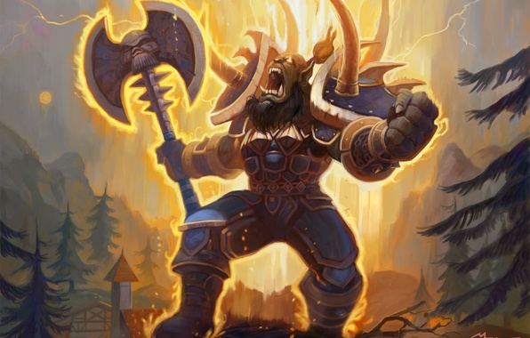 Wallpaper Weapons Power Warrior Armor Creek Orc Wow